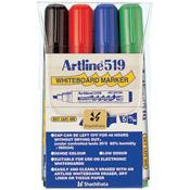 47386 - Dry Safe 2.-5.mm Chisel 4pk Whiteboard Markers EK-519 (Assorted)