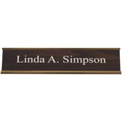 "K35 - K35 - Standard Aluminum Desk Sign - (GOLD) Frame<br>2"" x 10"""